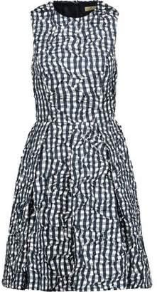 Michael Kors Gingham Crinkled-Taffeta Mini Dress