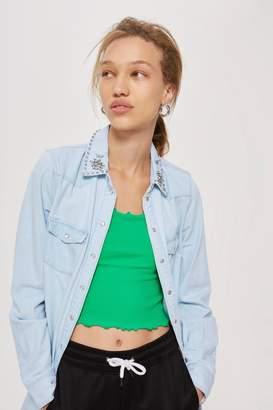 Topshop Crystal Collar Denim Shirt
