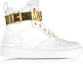 Moschino Optic White Leather High Top Sneakers w/Gold Tone Signature Logo