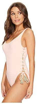 Vince Camuto Womens Riviera Solids Lace-up U-Neck One-Piece Swimsuit w/Removable Soft Cups