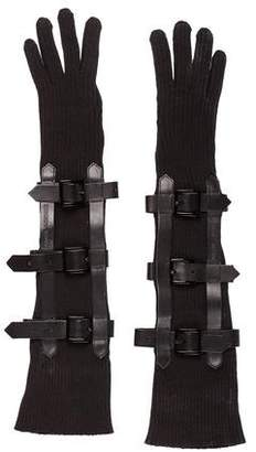 Emporio Armani Buckle Accented Knit Gloves