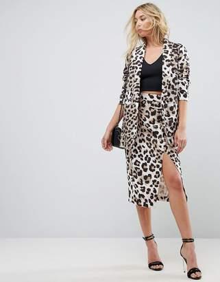 Asos DESIGN Tailored Mix & Match Pencil Skirt in Animal Print
