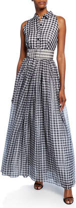 Shoshanna Tahla Checkered Sleeveless Long Belted Shirtdress