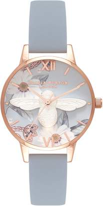 Olivia Burton Bejewelled Florals Leather Strap Watch, 30mm
