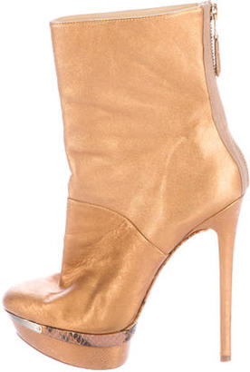 B Brian Atwood Metallic Platform Ankle Boots $85 thestylecure.com