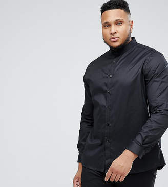 Heart & Dagger Plus Size Skinny Shirt With Grandad Collar