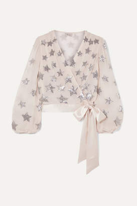 Temperley London Starlet Silk Satin-trimmed Sequin-embellished Chiffon Wrap Top