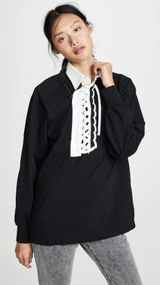 Facetasm Collared Lace up T-Shirt