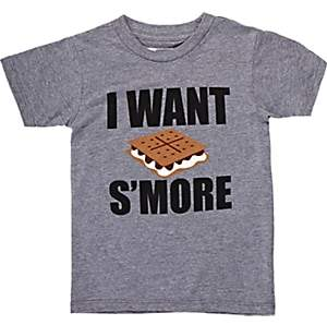 """Little DiLascia Kids' """"I Want S'More"""" T-Shirt - Gray"""