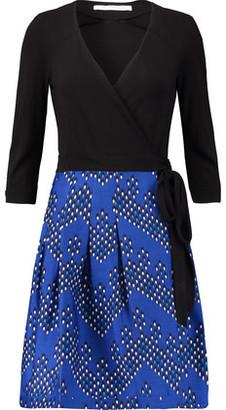 Diane von Furstenberg Jewel Wrap-Effect Wool-Blend And Printed Crepe Dress