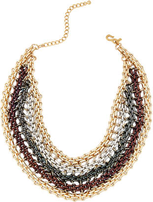 Kenneth Jay Lane Multi Metal Chain Link Bib Necklace