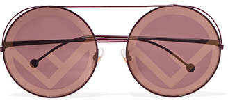 Fendi Round-frame Metal Sunglasses - Burgundy