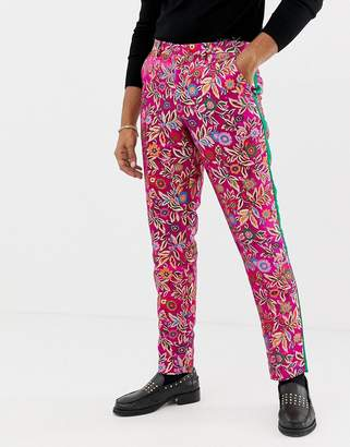 Asos EDITION slim tuxedo suit pants in fuchsia pink jacquard