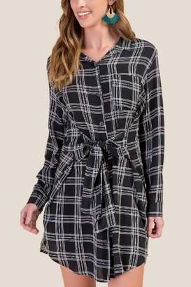 francesca's Ainsley Tie Front Shirt Dress - Black