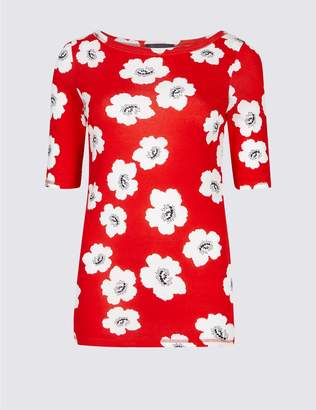 Marks and Spencer Pure Cotton Floral Print T-Shirt
