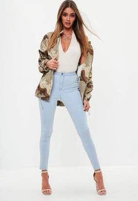 Missguided Blue Highwaisted Skinny Jeans