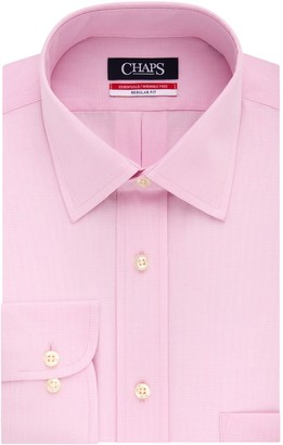 Chaps Big & Tall Essentials Regular-Fit Microcheck Wrinkle-Free Stretch Collar Dress Shirt