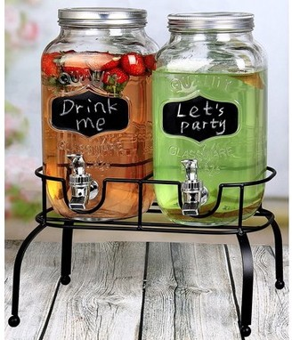 clear Estilo 1 Gallon Glass Mason Jar Double Drink Dispenser with Leak Free Spigot On Metal Stand With Embossed Chalkboard and Chalk,