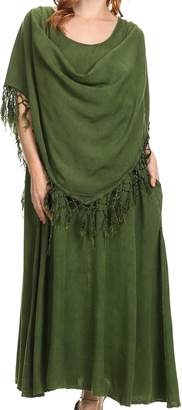 Sakkas 15222 - Emma Relaxed Fit Scoop Neck Double Layered with Fringe Tank Dress