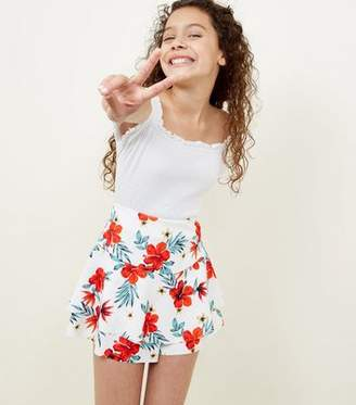 New Look Teens White Floral Print Frill Skort