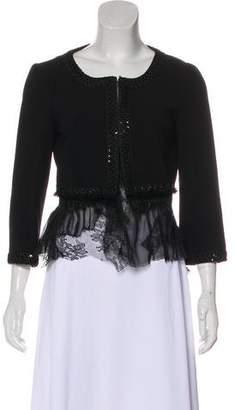 Alberta Ferretti Virgin Wool Lace-Trimmed Jacket