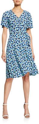 Donna Morgan Geometric-Print Illusion Wrap Dress