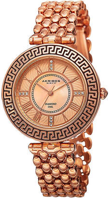Akribos XXIV Womens Rose Gold-Tone Dial Rose Gold IP Bracelet Watch
