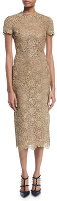 Valentino Short-Sleeve Metallic Lace Midi Dress
