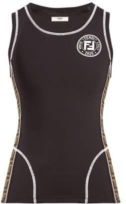 Fendi Ff Logo Stretch Jersey Tank Top - Womens - Black Multi