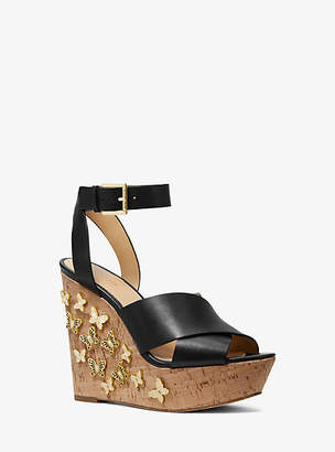 Michael Kors Lacey Butterfly Embellished Leather Wedge