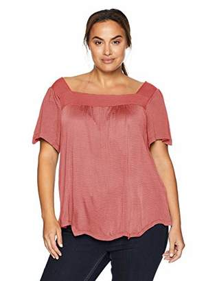 Lucky Brand Women's Plus Size Shadow Stripe Peasant TOP