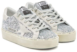 Golden Goose Hi Star Suede and Glitter Platform Sneakers