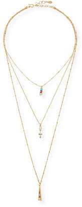 Sequin Three Layer Crystal Pendant Necklace