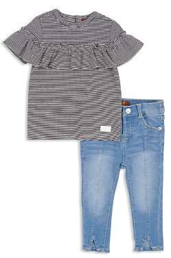 7 For All Mankind Girls' Ribbed Ruffled Tee & Skinny Jeans Set - Little Kid