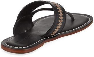 Bernardo Mary Embroidered Flat Slide Sandals, Black