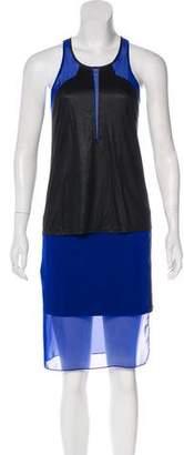 Helmut Lang Sheer-Accented Knee-Length Dress