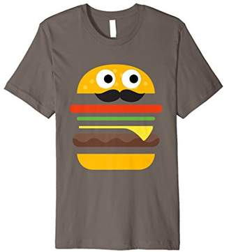 Layered Cheeseburger With Moustache Funny Cartoon T-Shirt