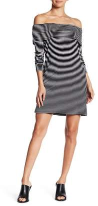 Love, Fire Off-the-Shoulder Striped Print Dress