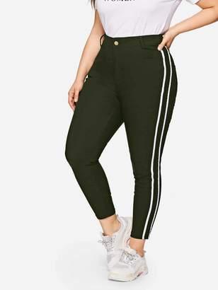 Shein Plus Contrast Striped Side Jeans