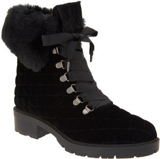 Isaac Mizrahi Live! Velvet and Faux Fur Quilted Hiker Boots