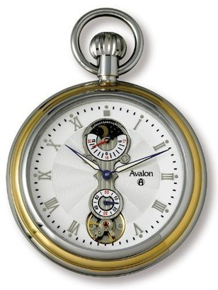 Avalon ツートンカラーSun Moon 24 Hour Mechanical Pocket Watch with Built in Display Stand # 8430tx