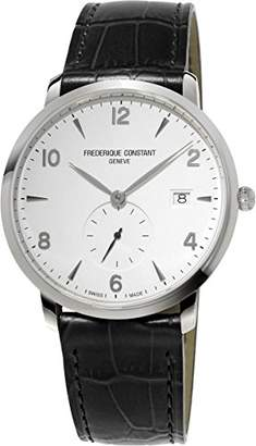 Frederique Constant Men's 'SlimLine' Swiss Quartz Stainless Steel and Leather Dress Watch