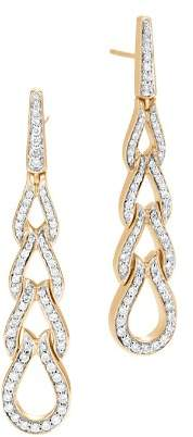 John Hardy 18K Yellow Gold Classic Chain Pavé Diamond Long Drop Earrings