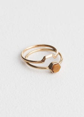 Hexagon Bead Ring Set