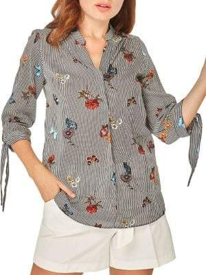 Dorothy Perkins Stripe & Butterfly Shirt