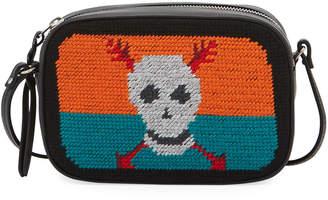 Alexander McQueen Skull Tapestry Small Zip Camera Bag