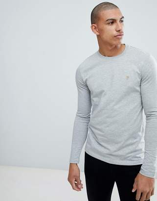 Farah Southall super slim fit logo long sleeve t-shirt in gray