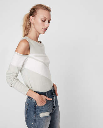 Express Asymmetrical Stripe Cold Shoulder Pullover Sweater