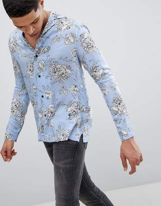 Religion Long Sleeve Revere Shirt In Blue With Rose Print