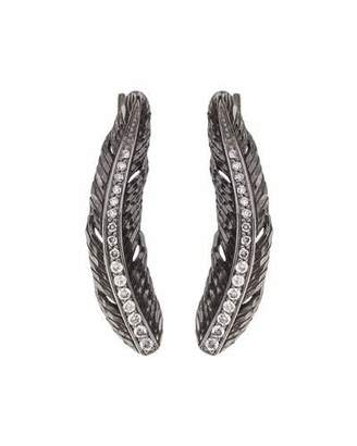 Michael Aram Feather Vine Earrings w/ Diamonds